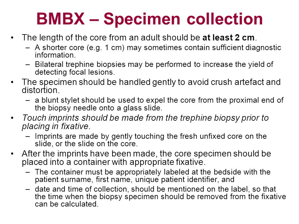 Contents of the report The aggregate length of the biopsy core, the macroscopic appearance and adequacy, integrity and quality of the specimen should be recorded.