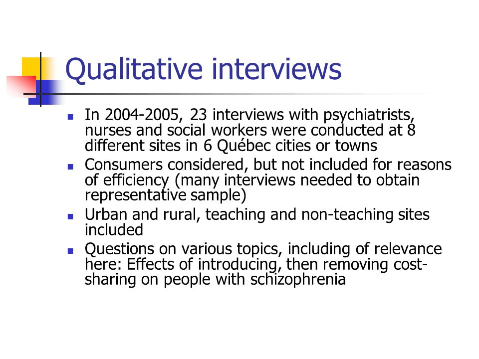 In 2004-2005, 23 interviews with psychiatrists, nurses and social workers were conducted at 8 different sites in 6 Québec cities or towns Consumers considered, but not included for reasons of efficiency (many interviews needed to obtain representative sample) Urban and rural, teaching and non-teaching sites included Questions on various topics, including of relevance here: Effects of introducing, then removing cost- sharing on people with schizophrenia