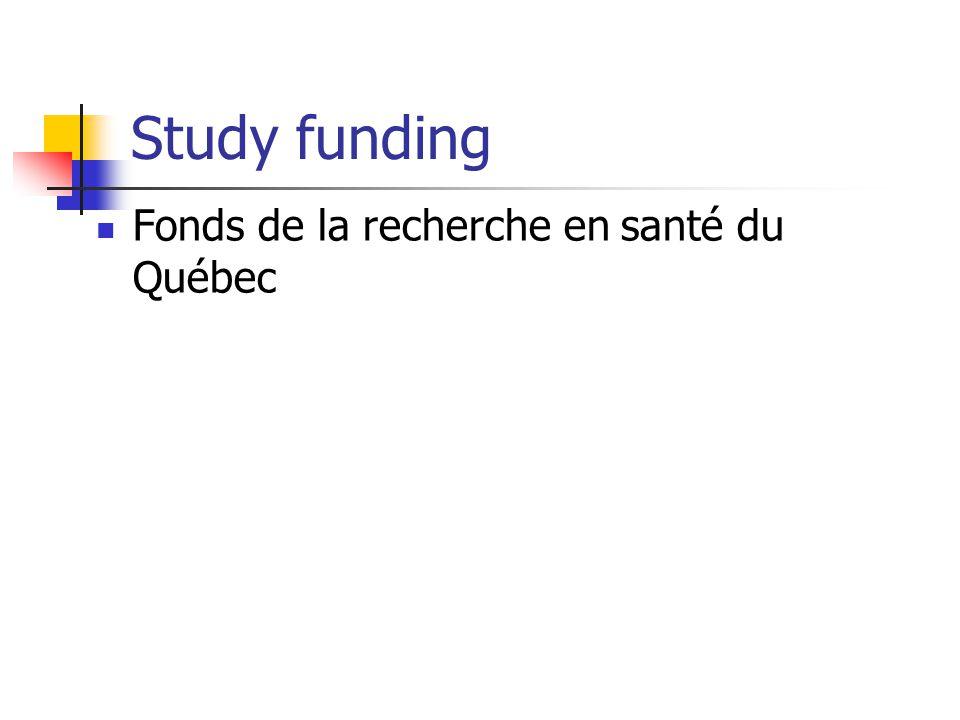 Study funding Fonds de la recherche en santé du Québec