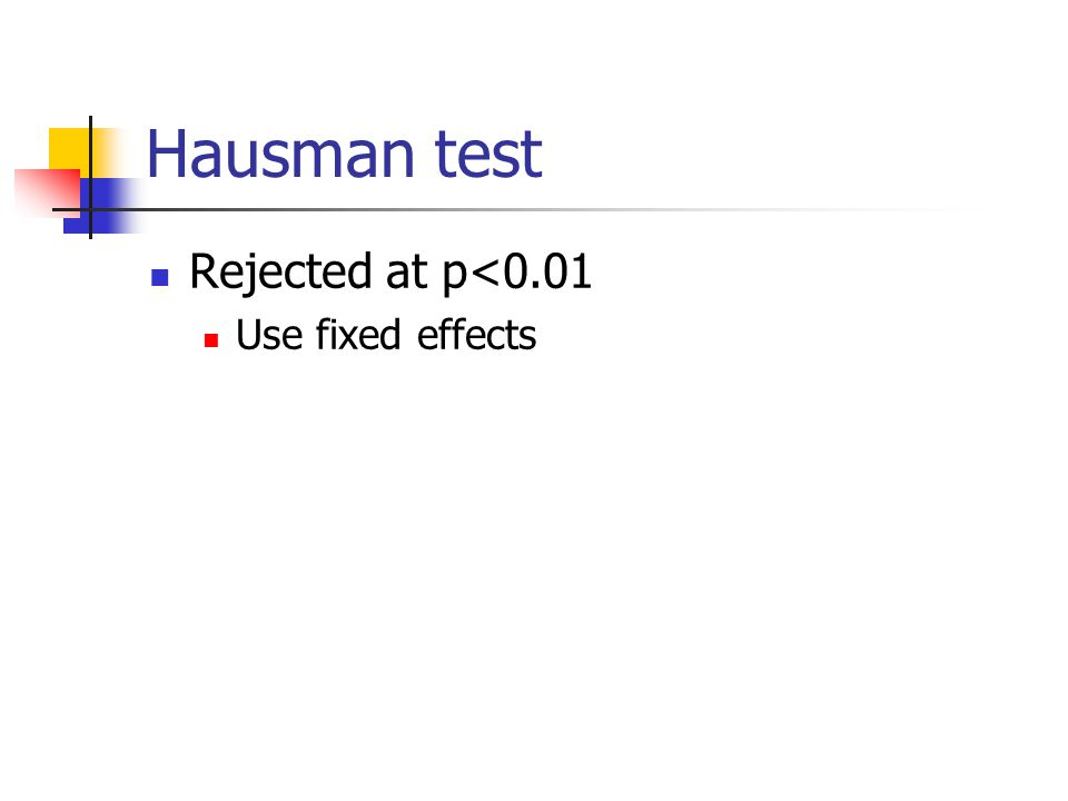 Hausman test Rejected at p<0.01 Use fixed effects