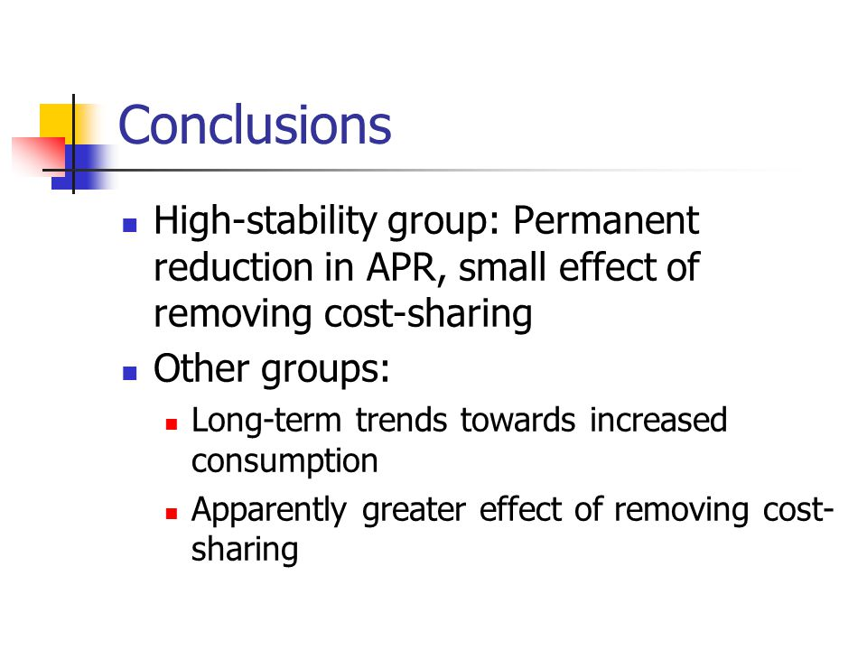 Conclusions High-stability group: Permanent reduction in APR, small effect of removing cost-sharing Other groups: Long-term trends towards increased c