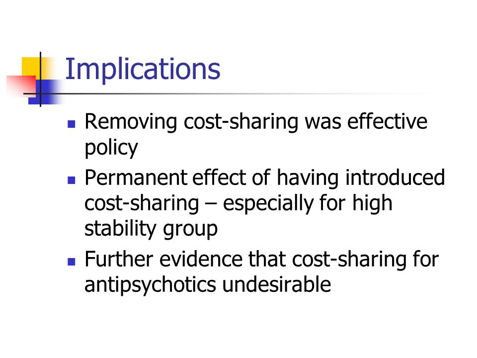 Implications Removing cost-sharing was effective policy Permanent effect of having introduced cost-sharing – especially for high stability group Furth