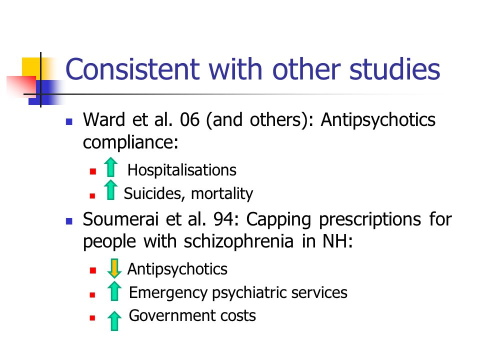 Consistent with other studies Ward et al. 06 (and others): Antipsychotics compliance: Hospitalisations Suicides, mortality Soumerai et al. 94: Capping