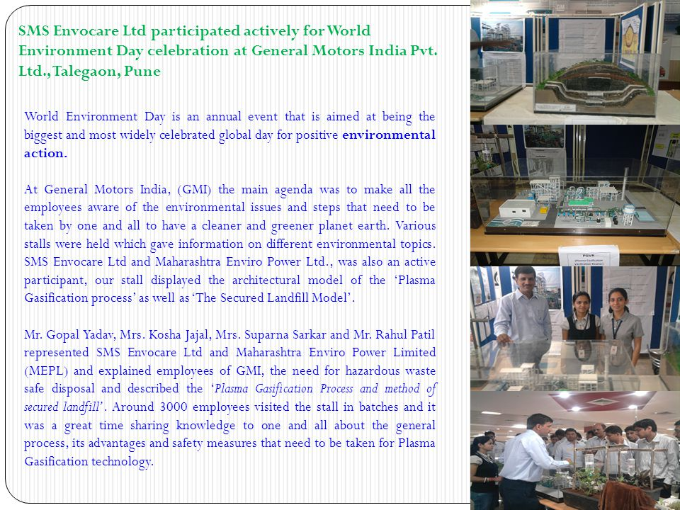 SMS Envocare Ltd participated actively for World Environment Day celebration at General Motors India Pvt. Ltd., Talegaon, Pune World Environment Day i