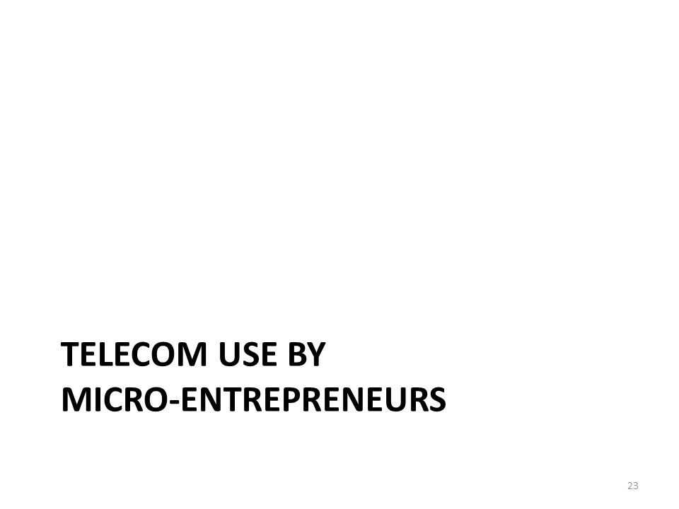 TELECOM USE BY MICRO-ENTREPRENEURS 23