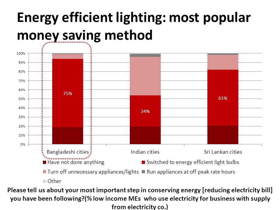 Energy efficient lighting: most popular money saving method Please tell us about your most important step in conserving energy [reducing electricity bill] you have been following (% low income MEs who use electricity for business with supply from electricity co.) 66