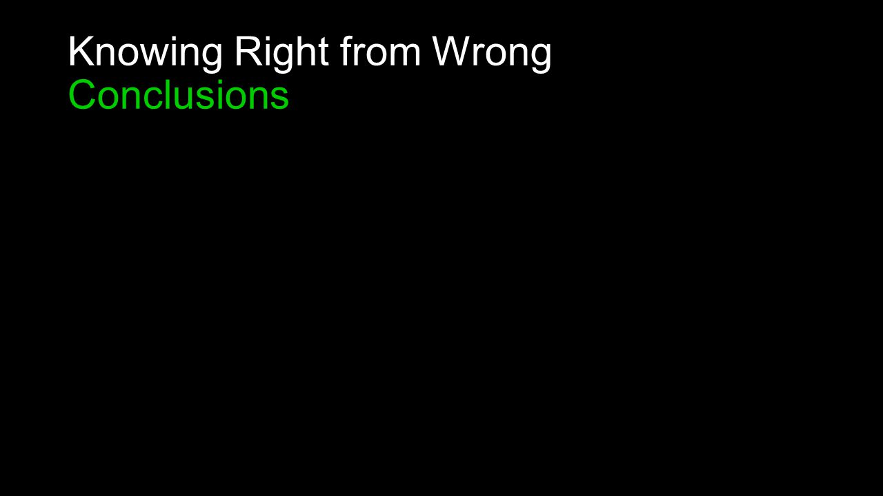 Knowing Right from Wrong Conclusions