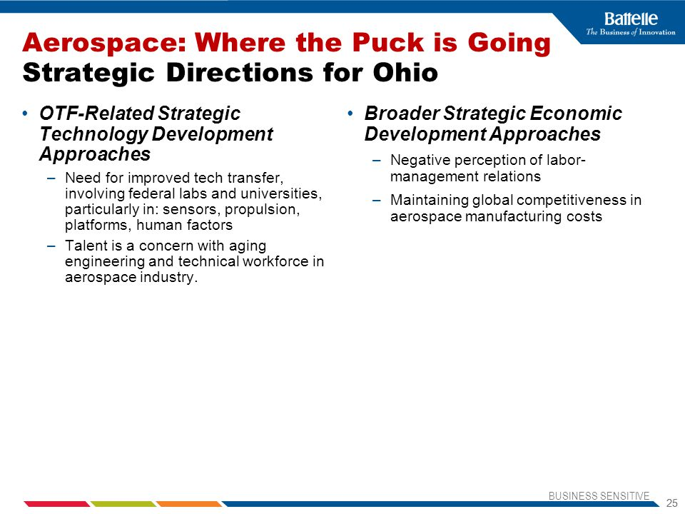 BUSINESS SENSITIVE 25 Aerospace: Where the Puck is Going Strategic Directions for Ohio OTF-Related Strategic Technology Development Approaches –Need for improved tech transfer, involving federal labs and universities, particularly in: sensors, propulsion, platforms, human factors –Talent is a concern with aging engineering and technical workforce in aerospace industry.