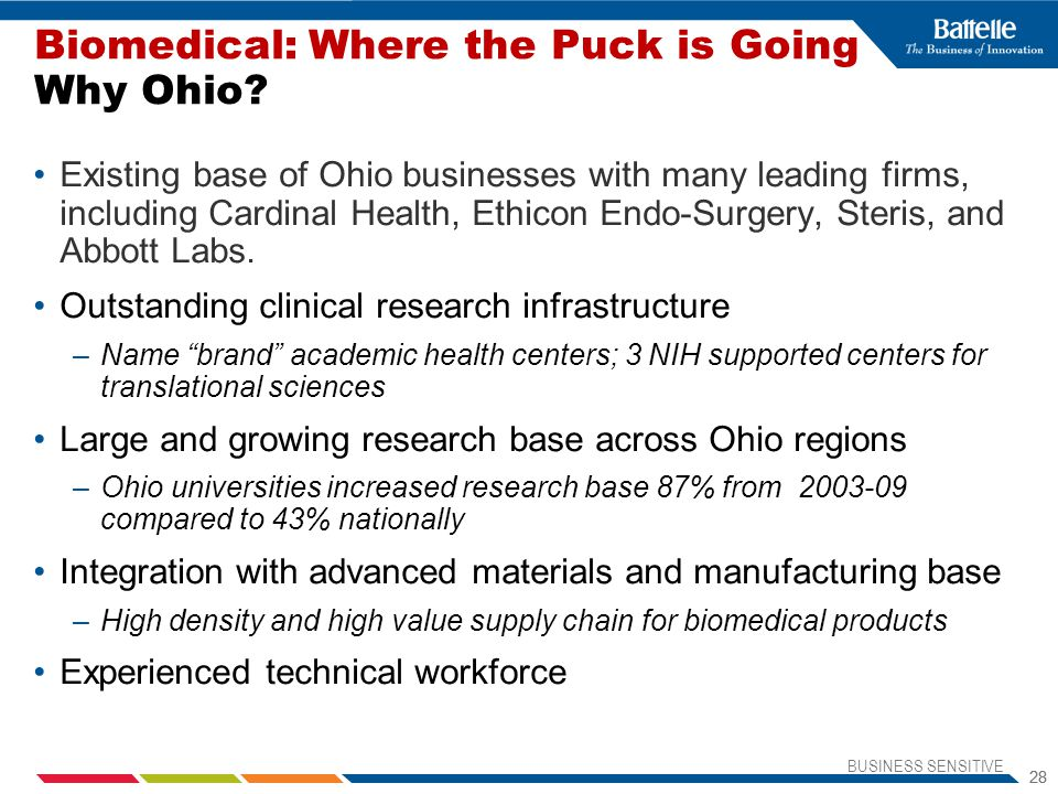 BUSINESS SENSITIVE 28 Existing base of Ohio businesses with many leading firms, including Cardinal Health, Ethicon Endo-Surgery, Steris, and Abbott Labs.