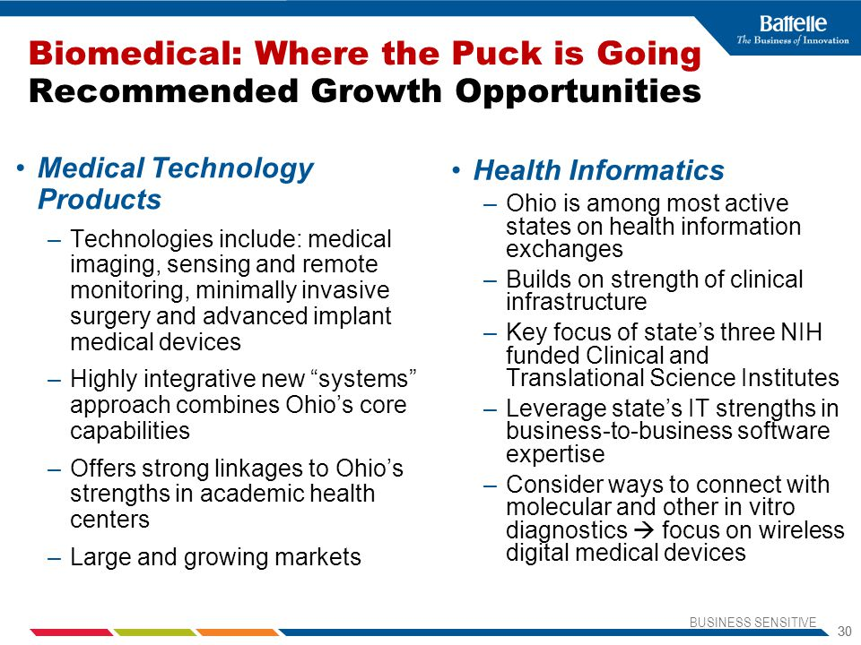 BUSINESS SENSITIVE 30 Biomedical: Where the Puck is Going Recommended Growth Opportunities Medical Technology Products –Technologies include: medical imaging, sensing and remote monitoring, minimally invasive surgery and advanced implant medical devices –Highly integrative new systems approach combines Ohio's core capabilities –Offers strong linkages to Ohio's strengths in academic health centers –Large and growing markets Health Informatics –Ohio is among most active states on health information exchanges –Builds on strength of clinical infrastructure –Key focus of state's three NIH funded Clinical and Translational Science Institutes –Leverage state's IT strengths in business-to-business software expertise –Consider ways to connect with molecular and other in vitro diagnostics  focus on wireless digital medical devices