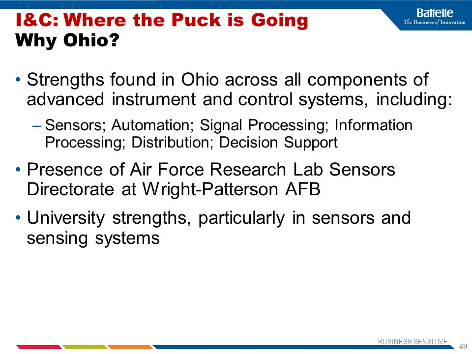BUSINESS SENSITIVE 49 Strengths found in Ohio across all components of advanced instrument and control systems, including: –Sensors; Automation; Signal Processing; Information Processing; Distribution; Decision Support Presence of Air Force Research Lab Sensors Directorate at Wright-Patterson AFB University strengths, particularly in sensors and sensing systems I&C: Where the Puck is Going Why Ohio?