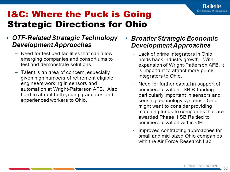BUSINESS SENSITIVE 52 I&C: Where the Puck is Going Strategic Directions for Ohio OTF-Related Strategic Technology Development Approaches –Need for test bed facilities that can allow emerging companies and consortiums to test and demonstrate solutions.