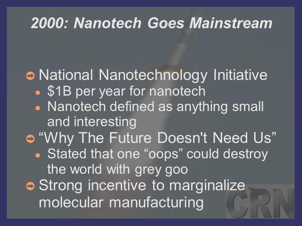2000: Nanotech Goes Mainstream ➲ National Nanotechnology Initiative ● $1B per year for nanotech ● Nanotech defined as anything small and interesting ➲