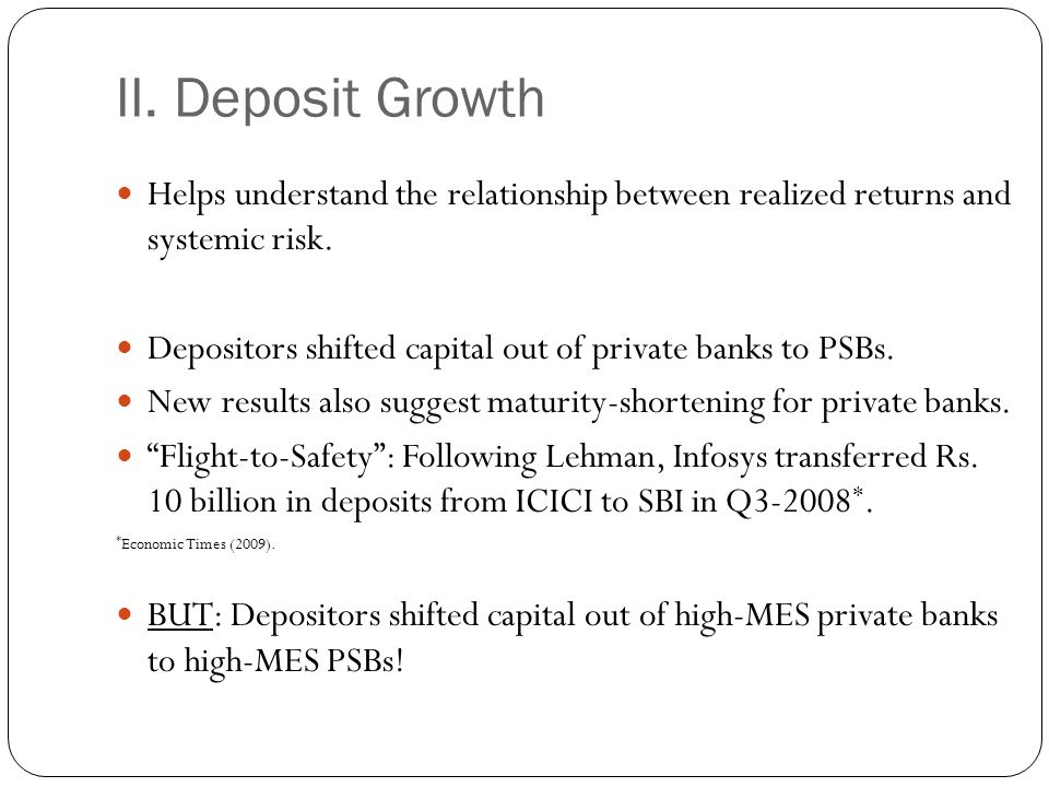 II. Deposit Growth Helps understand the relationship between realized returns and systemic risk.