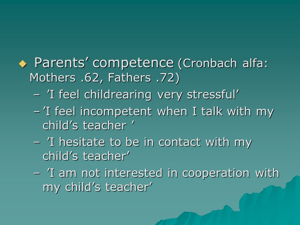  Parents' competence (Cronbach alfa: Mothers.62, Fathers.72) – 'I feel childrearing very stressful' –'I feel incompetent when I talk with my child's teacher ' – 'I hesitate to be in contact with my child's teacher' – 'I am not interested in cooperation with my child's teacher'
