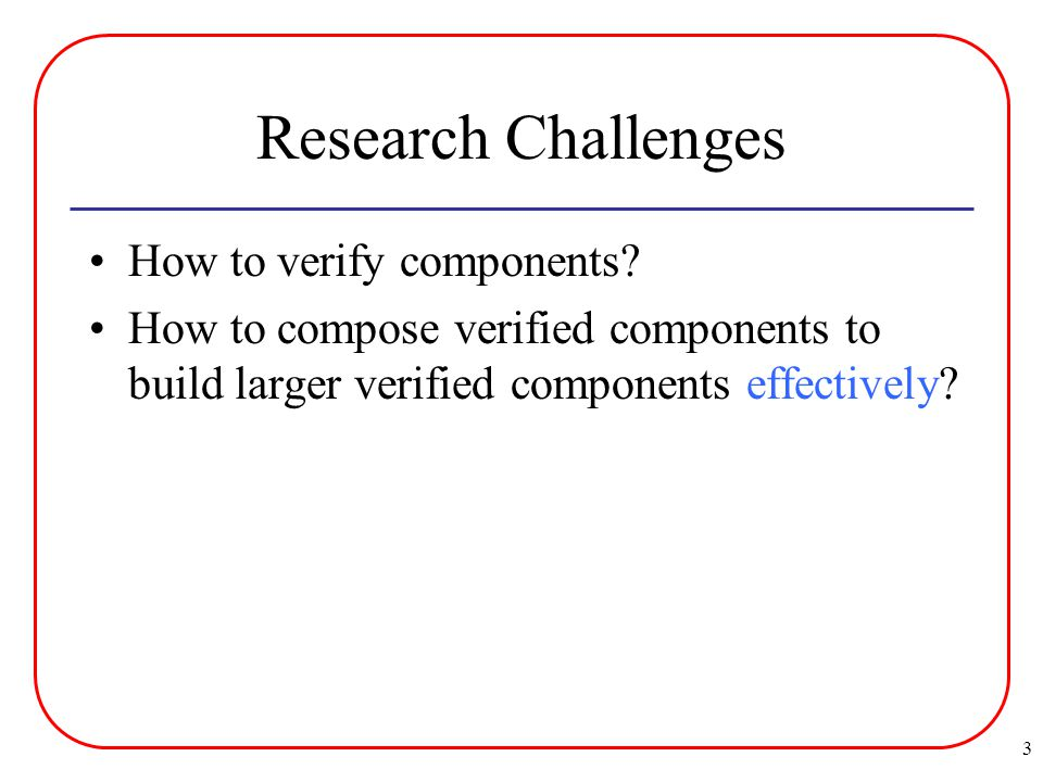 3 Research Challenges How to verify components.