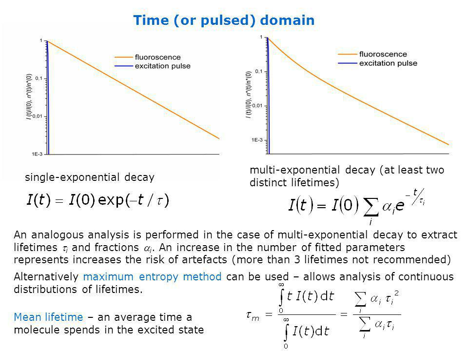 Time (or pulsed) domain single-exponential decay multi-exponential decay (at least two distinct lifetimes) An analogous analysis is performed in the c