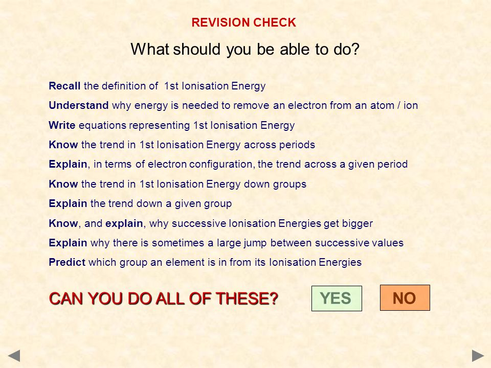 REVISION CHECK What should you be able to do.