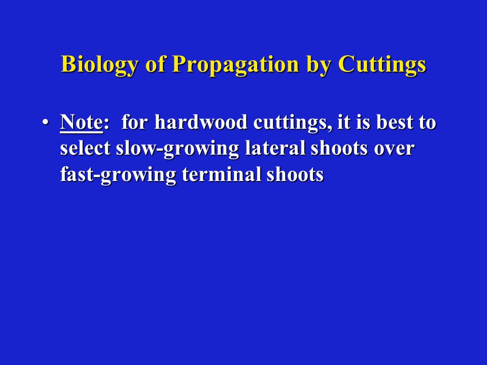 Biology of Propagation by Cuttings Note: for hardwood cuttings, it is best to select slow-growing lateral shoots over fast-growing terminal shootsNote: for hardwood cuttings, it is best to select slow-growing lateral shoots over fast-growing terminal shoots