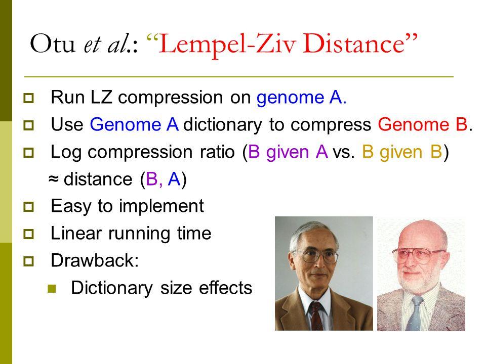 Otu et al.: Lempel-Ziv Distance  Run LZ compression on genome A.