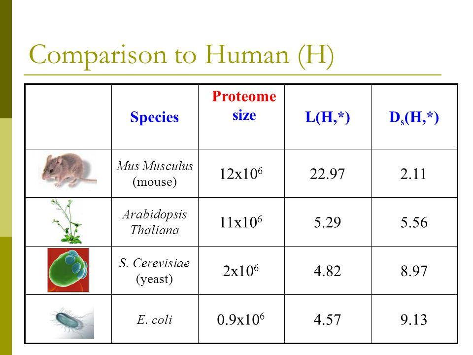 Comparison to Human (H) 9.134.570.9x10 6 E. coli 8.974.822x10 6 S.