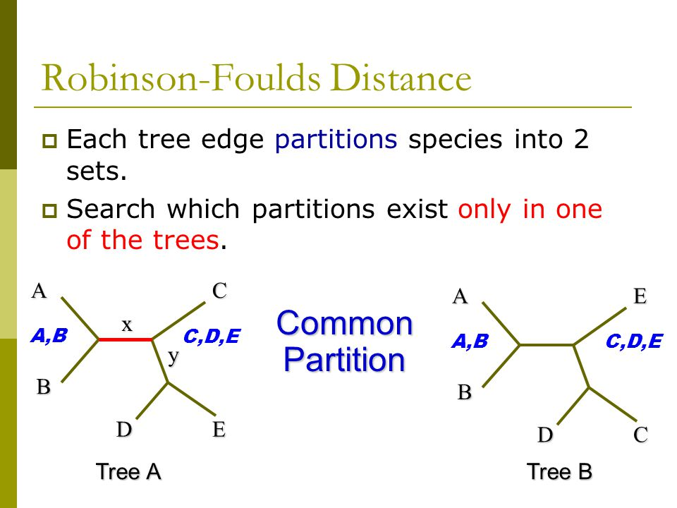 Robinson-Foulds Distance  Each tree edge partitions species into 2 sets.