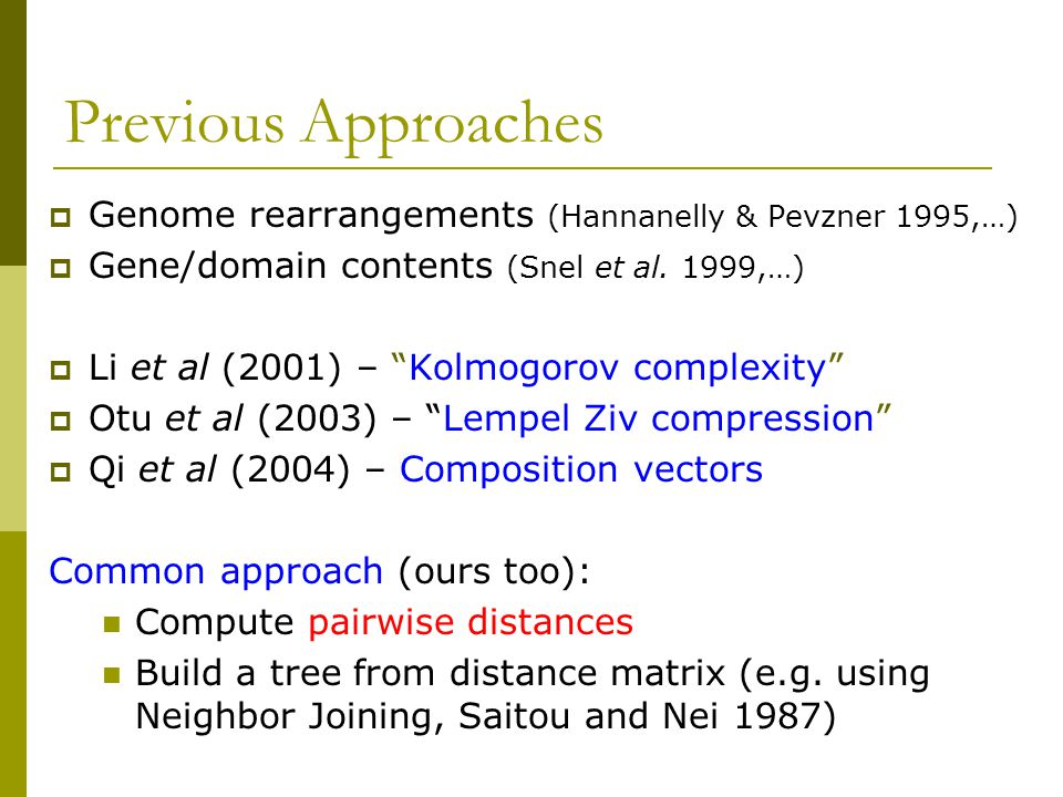 Previous Approaches  Genome rearrangements (Hannanelly & Pevzner 1995,…)  Gene/domain contents (Snel et al.