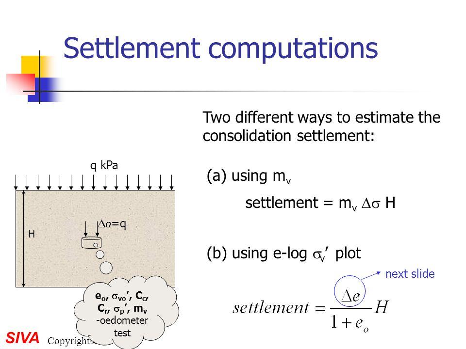 SIVA Copyright©2001 Settlement computations e o,  vo ', C c, C r,  p ', m v -oedometer test  =q q kPa H Two different ways to estimate the consoli