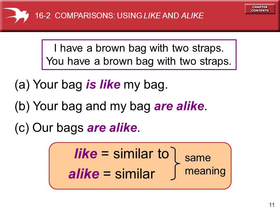 11 (a) Your bag is like my bag. (b) Your bag and my bag are alike.