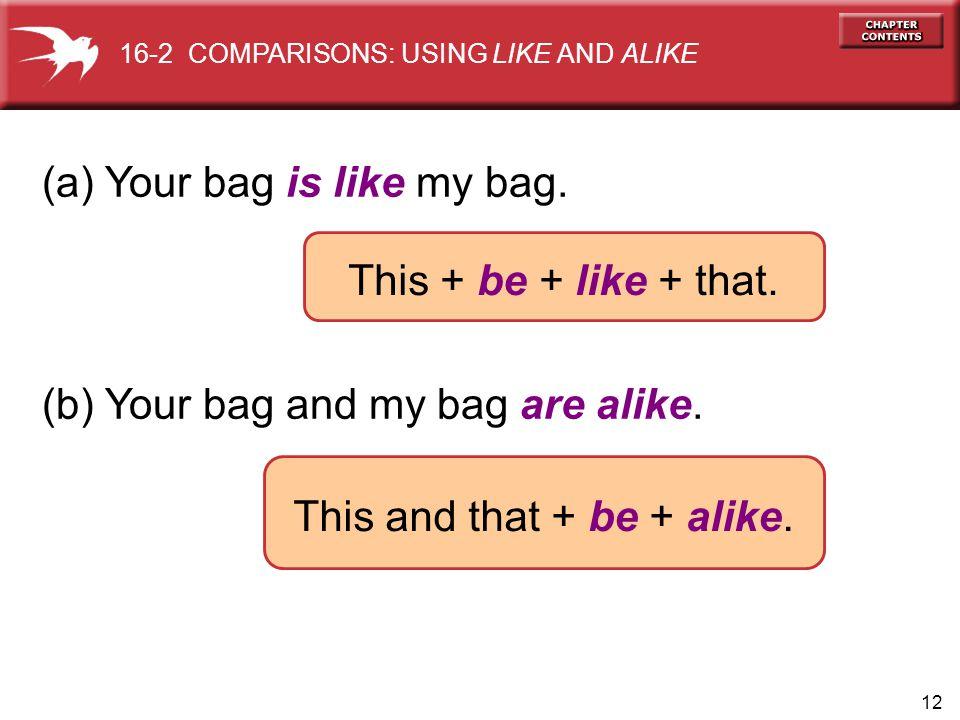 12 (a) Your bag is like my bag. (b) Your bag and my bag are alike.