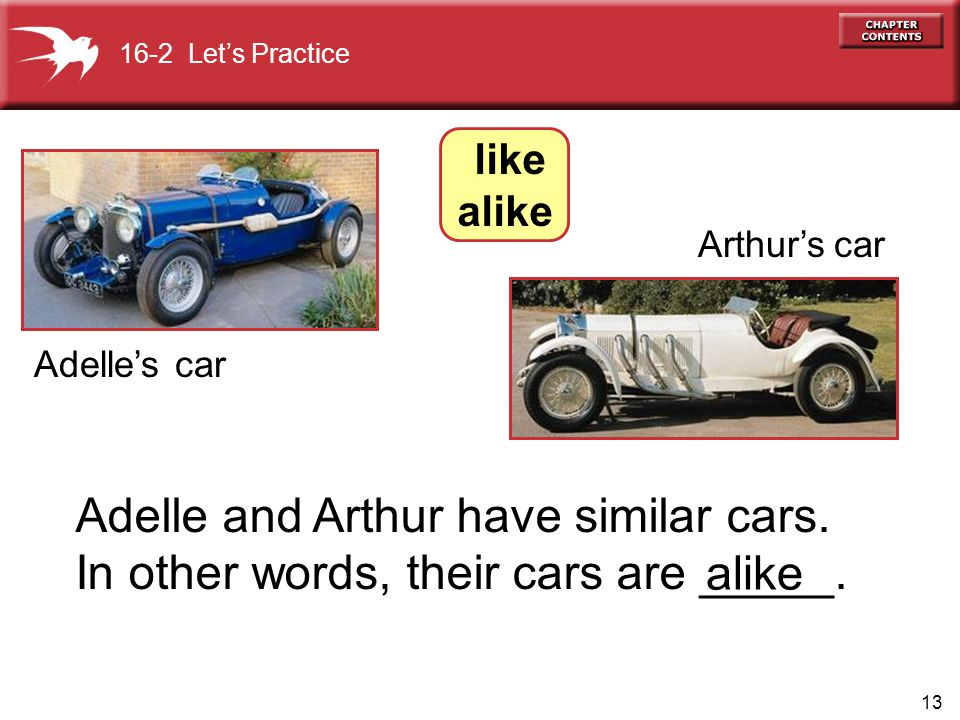 13 Adelle and Arthur have similar cars. In other words, their cars are _____.
