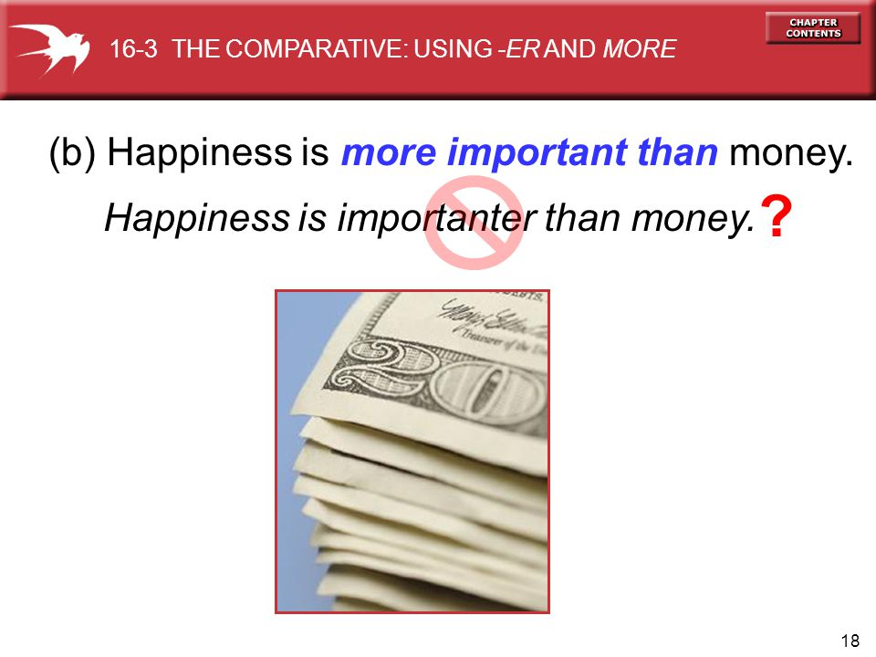 18 (b) Happiness is more important than money. Happiness is importanter than money.