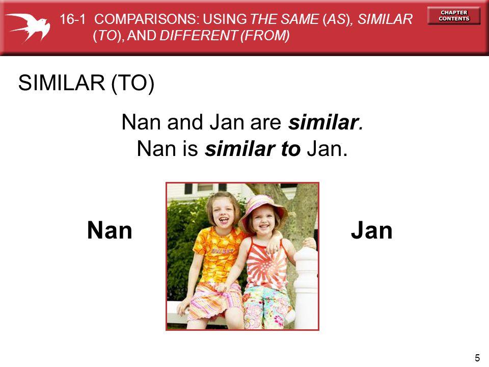 5 SIMILAR (TO) Nan Jan Nan and Jan are similar. Nan is similar to Jan.
