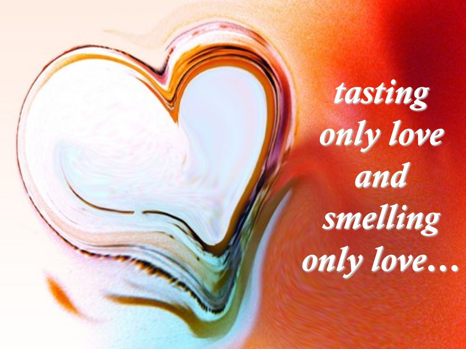 tasting only love and smelling only love…
