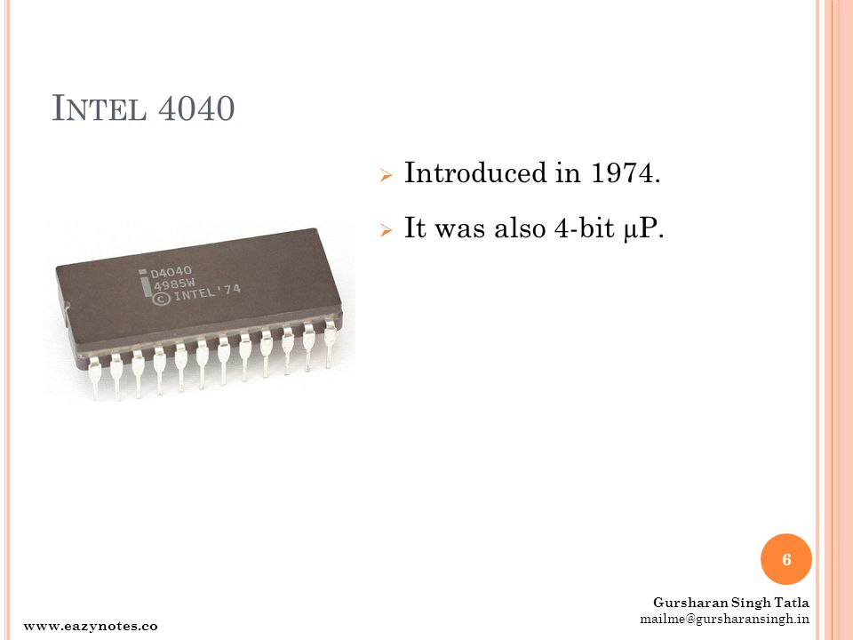 I NTEL 4040  Introduced in 1974.  It was also 4-bit µP.