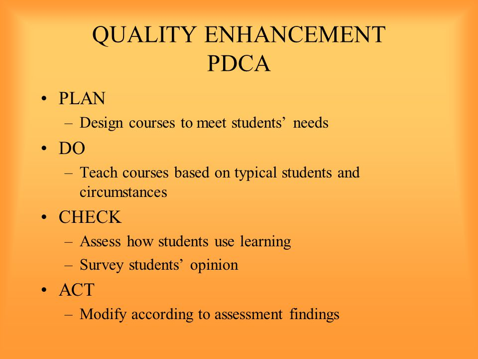 QUALITY ENHANCEMENT PDCA PLAN –Design courses to meet students' needs DO –Teach courses based on typical students and circumstances CHECK –Assess how students use learning –Survey students' opinion ACT –Modify according to assessment findings