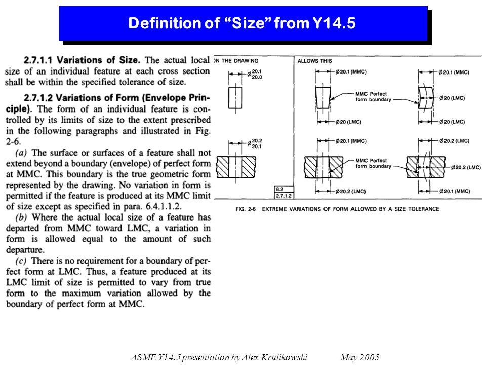 """ASME Y14.5 presentation by Alex Krulikowski May 2005 Definition of """"Size"""" from Y14.5"""