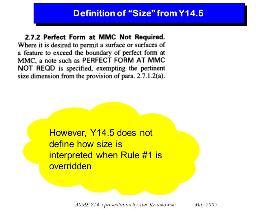"""ASME Y14.5 presentation by Alex Krulikowski May 2005 Definition of """"Size"""" from Y14.5 However, Y14.5 does not define how size is interpreted when Rule"""