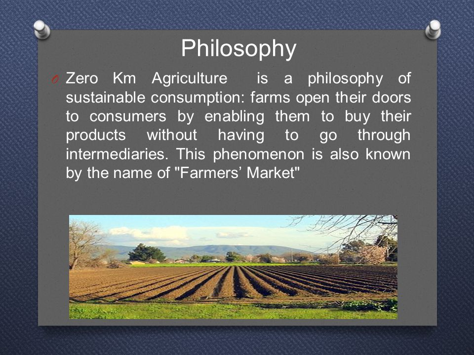 Philosophy O Zero Km Agriculture is a philosophy of sustainable consumption: farms open their doors to consumers by enabling them to buy their products without having to go through intermediaries.