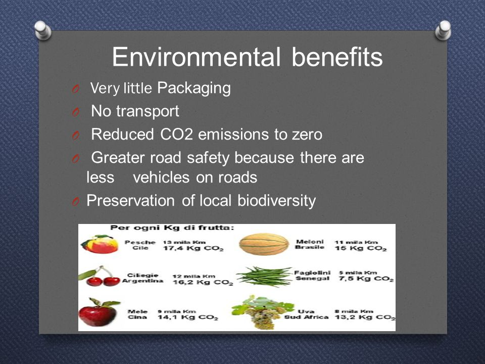 Environmental benefits O Very little Packaging O No transport O Reduced CO2 emissions to zero O Greater road safety because there are less vehicles on roads O Preservation of local biodiversity