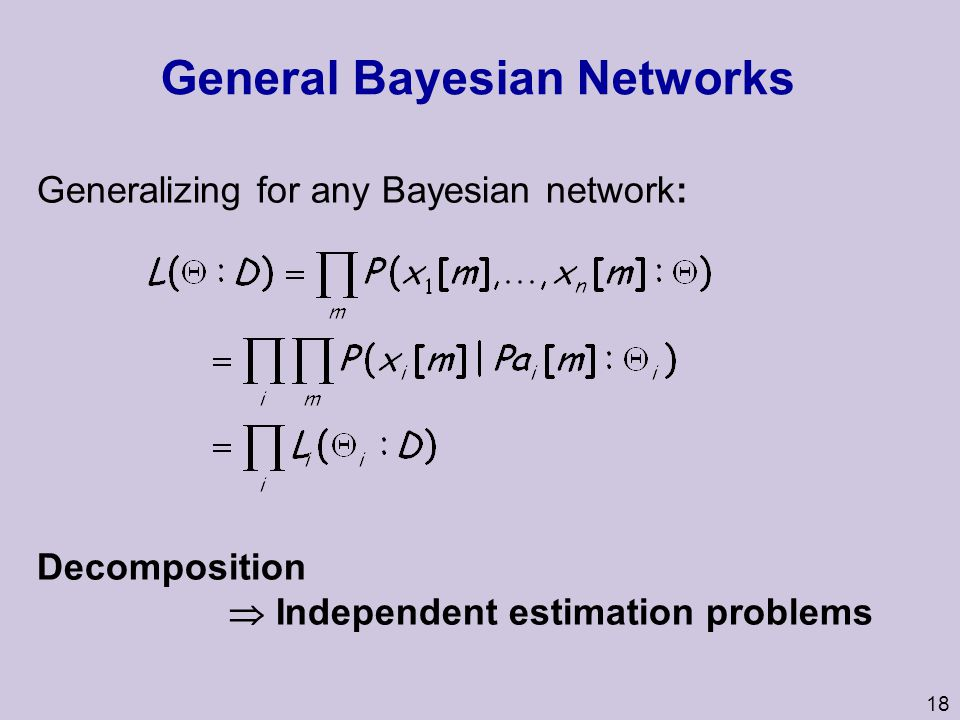 18 General Bayesian Networks Generalizing for any Bayesian network: Decomposition  Independent estimation problems