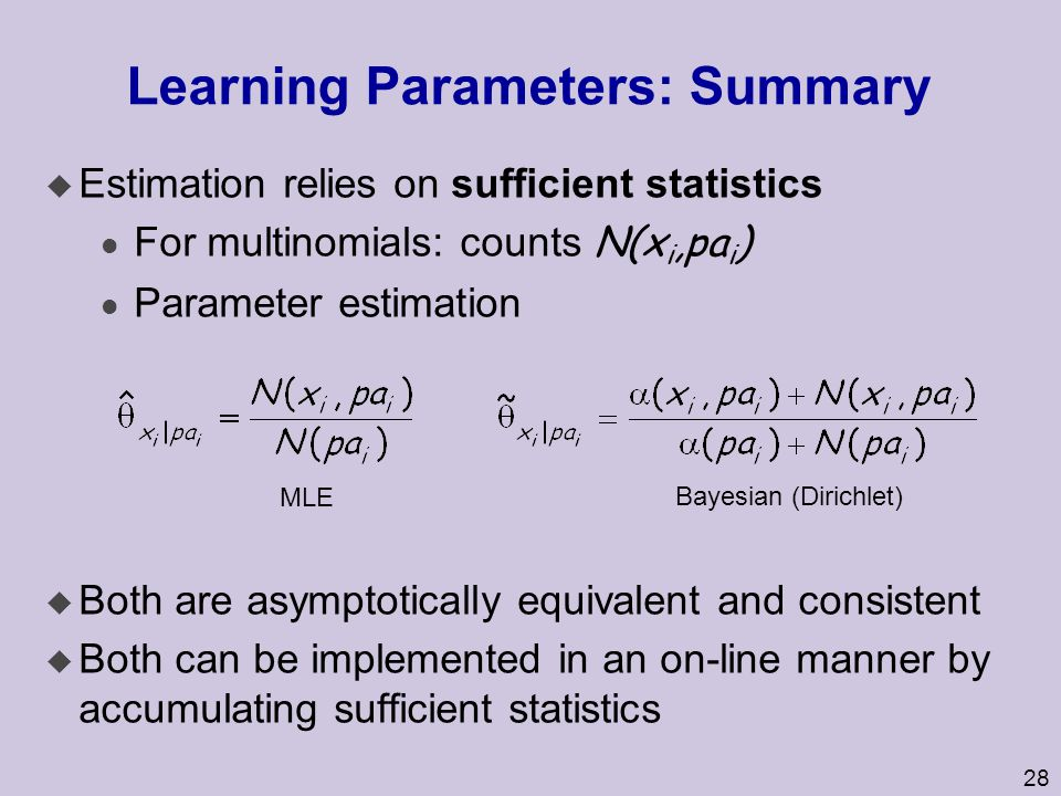 28 Learning Parameters: Summary u Estimation relies on sufficient statistics For multinomials: counts N(x i,pa i ) l Parameter estimation u Both are a