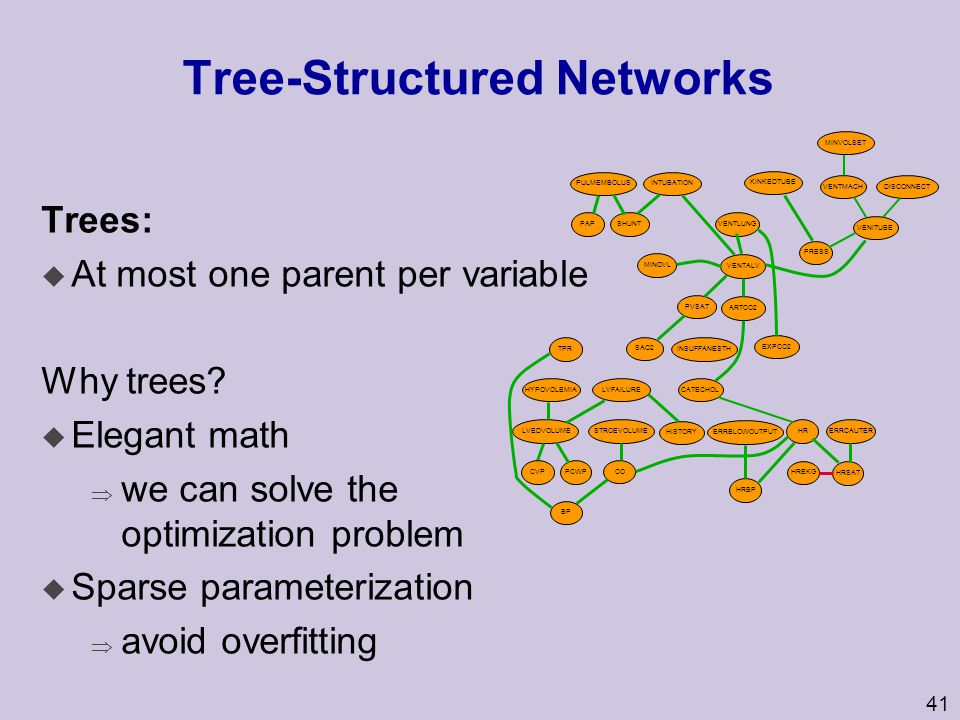 41 Tree-Structured Networks Trees: u At most one parent per variable Why trees? u Elegant math  we can solve the optimization problem u Sparse parame