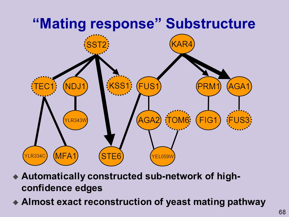 "68 ""Mating response"" Substructure u Automatically constructed sub-network of high- confidence edges u Almost exact reconstruction of yeast mating path"