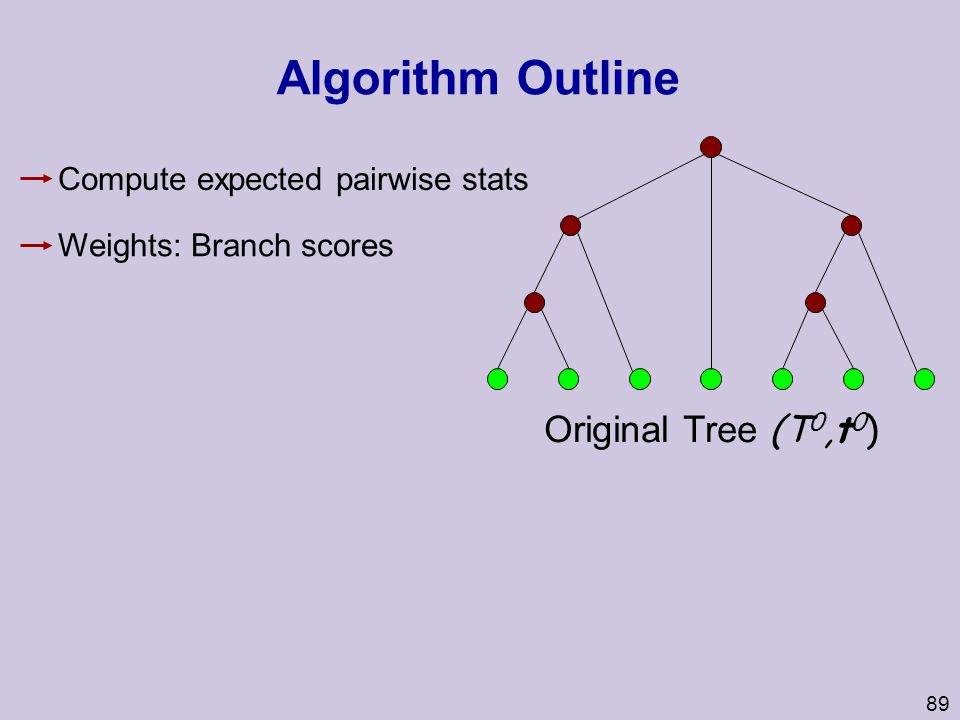 89 Algorithm Outline Original Tree (T 0,t 0 ) Weights: Branch scores Compute expected pairwise stats