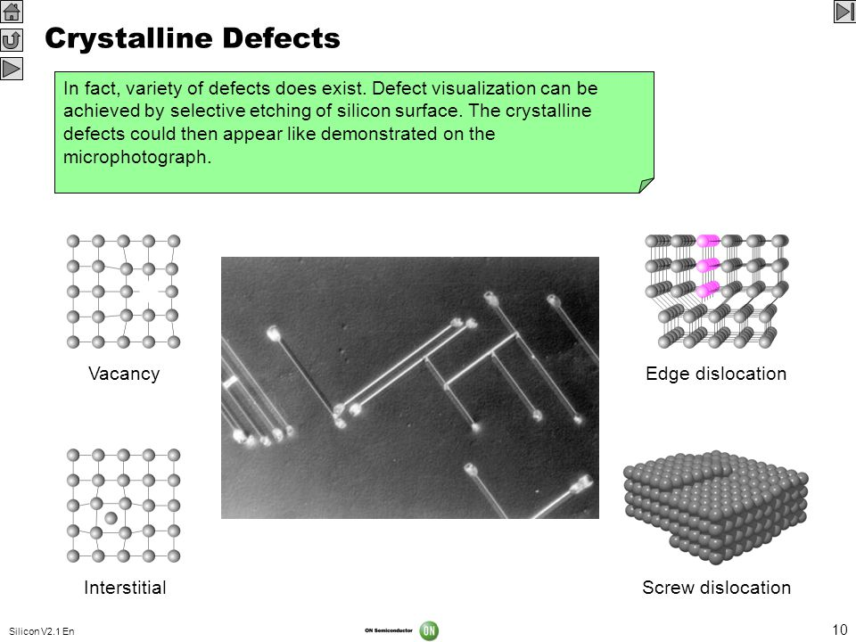 Silicon V2.1 En 10 Crystalline Defects Any imperfection in the crystalline structure is considered a defect. A defect can influence the electrical and