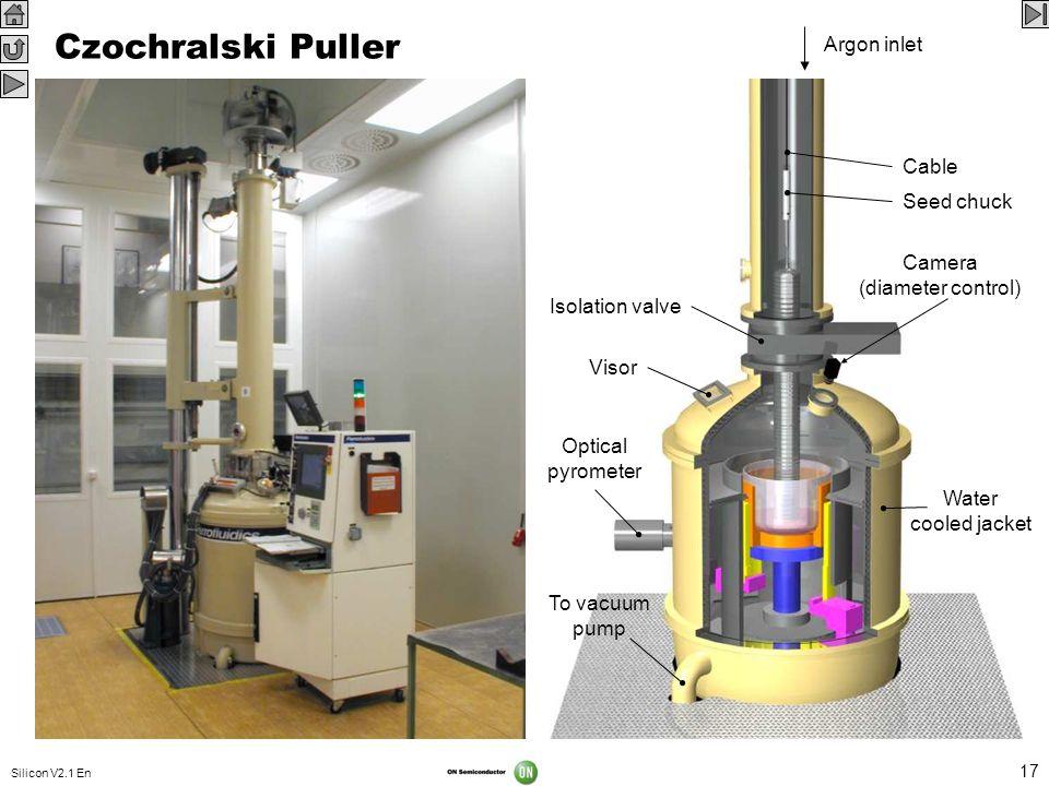 Silicon V2.1 En 17 Czochralski Puller Quartz crucible Graphite crucible Graphite heater Thermal shield Electric current lead-in Crucible shaft Crucibl