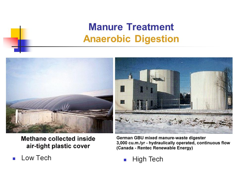 Low Tech Manure Treatment Anaerobic Digestion High Tech