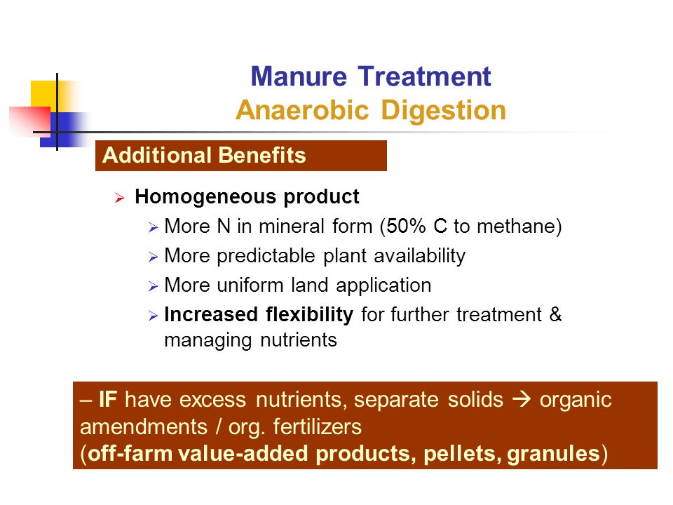  Homogeneous product  More N in mineral form (50% C to methane)  More predictable plant availability  More uniform land application  Increased flexibility for further treatment & managing nutrients Manure Treatment Anaerobic Digestion Additional Benefits – IF have excess nutrients, separate solids  organic amendments / org.