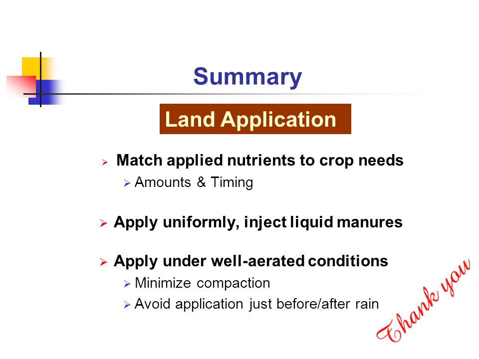  Match applied nutrients to crop needs  Amounts & Timing  Apply uniformly, inject liquid manures  Apply under well-aerated conditions  Minimize compaction  Avoid application just before/after rain Summary Land Application
